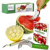 Kitchen-nv - Melon Cortador de Sandía Paquete Completo - Acero Inoxidable - Corer cortador de melón y servidor - Utensilio de...