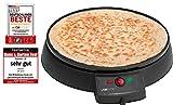 Clatronic CM 3372 Máquina de hacer crepes, tortitas, tortillas, plato 29 cm antiadherente, termostato regulable, 900 W, Cristal,...
