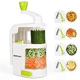 Espiralizador vegetal Sedhoom Cortador de Verduras MultiFunción de Alimentos 4 Cuchillas, Espiralizador de Picar Frutas,...