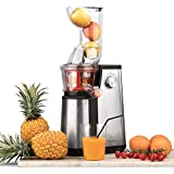 Licuadora para Frutas y Verduras de Prensado en Frío, Extractor de Jugos, Multifunciones, Boquilla Extra Grande, 1 Litro, 60 RPM,...