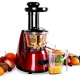 KLARSTEIN Fruitpresso Bella Rossa - Extractor de Zumo, juguera Vertical, colador de Acero Inoxidable, 150 W, 70 RPM, Mecanismo de...
