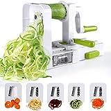 Sedhoom Espiralizador de Vegetales Cortador de Verduras de 5 Cuchillas,Doblado Espiralizador de Verduras en...