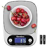 Newdora Báscula Digital para Cocina de Acero Inoxidable con Pantalla LCD Balanza de Alimentos, con función de tara, sistema de...