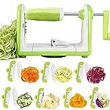 Espiralizador de Vegetales Cortador de Verduras de 7 Cuchillas, Doblado Espiralizador de Verduras en Espiral, Juliana, Espaguetis,...