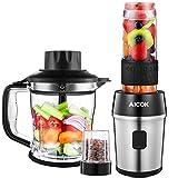 AICOK Batidora de Vaso, 5 en 1 Multifunción para Batidora para Smoothie, Molinillo de Café, Procesador de Alimentos, Picadora de...