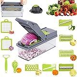 RunSnail 14 en 1 Cortador de Verdura Mandolina de Verduras Multifuncional Cocina Slicer 10-Cuchillas Separador de huevos para...