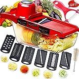 Mandolina cortadora multifuncional,cortador de verduras,trituradora de alimentos,picadora rallador,6 cuchillas afiladas de acero...